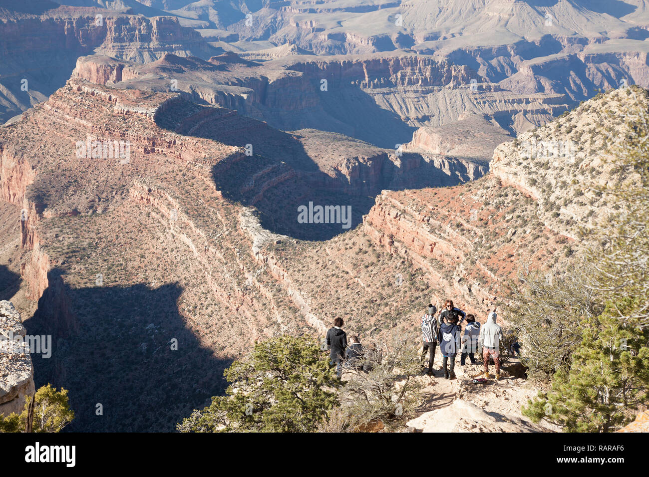 hikers along the Grandview Trail in Grand Canyon National Park SouthRim - Stock Image