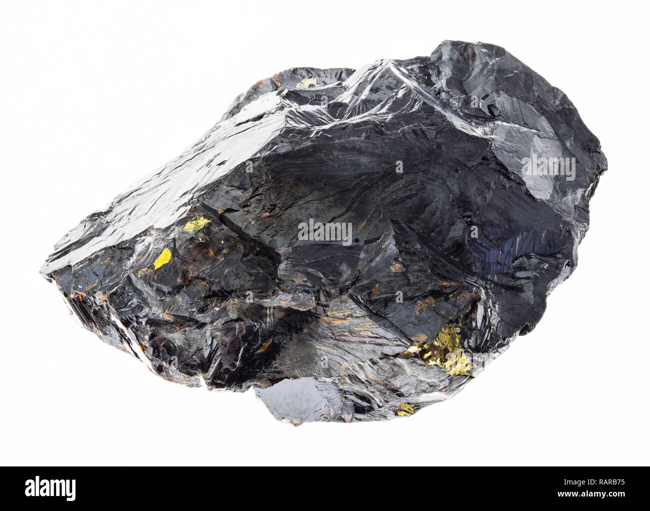 macro photography of natural mineral from geological collection - raw sphalerite (zinc blende) stone on white background - Stock Image