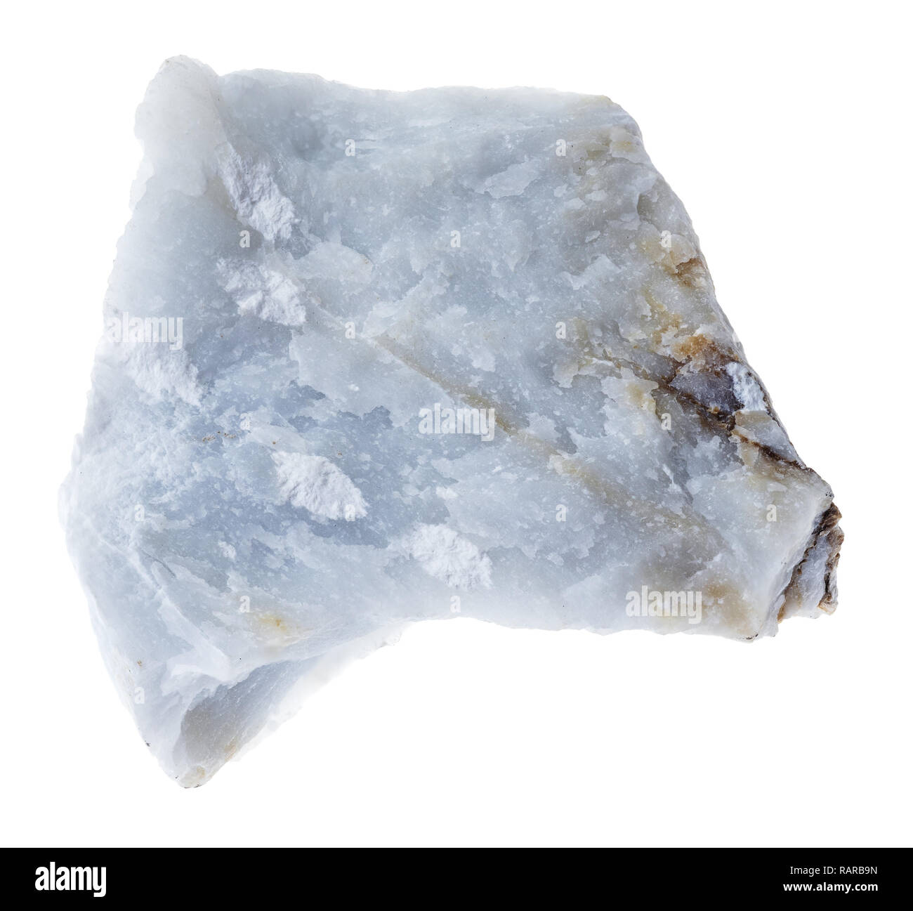 macro photography of natural mineral from geological collection - raw Angelite (Blue Anhydrite) stone on white background - Stock Image