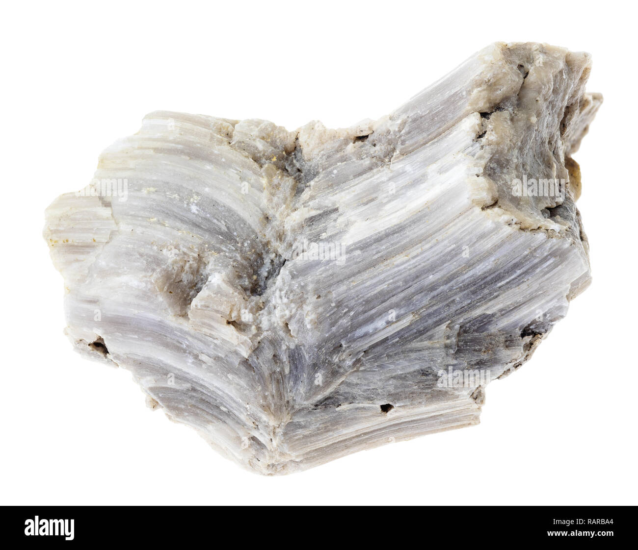 macro photography of natural mineral from geological collection - rough barite (baryte) stone on white background - Stock Image