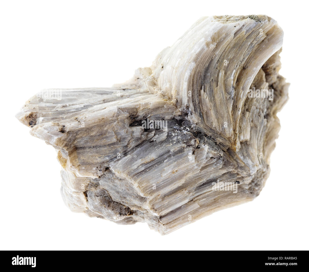 macro photography of natural mineral from geological collection - raw barite (baryte) stone on white background - Stock Image