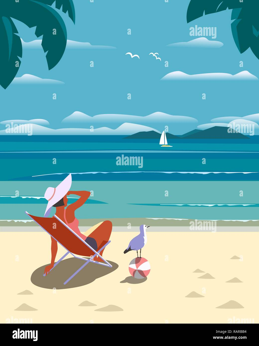 Summer seaside holidays relax - Stock Vector