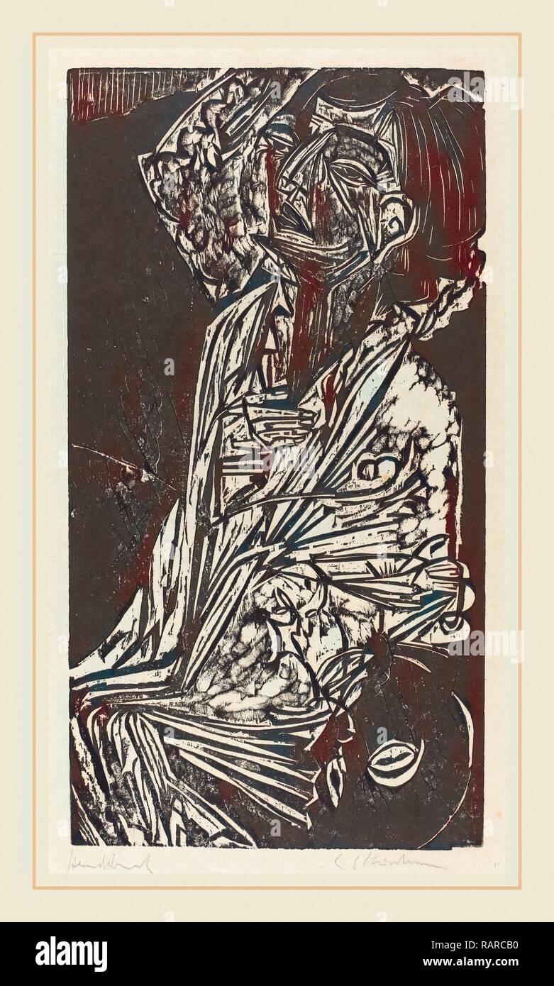 Ernst Ludwig Kirchner, The Wife of Professor Goldstein (Frau Professor Goldstein), German, 1880-1938, 1916, woodcut reimagined - Stock Image