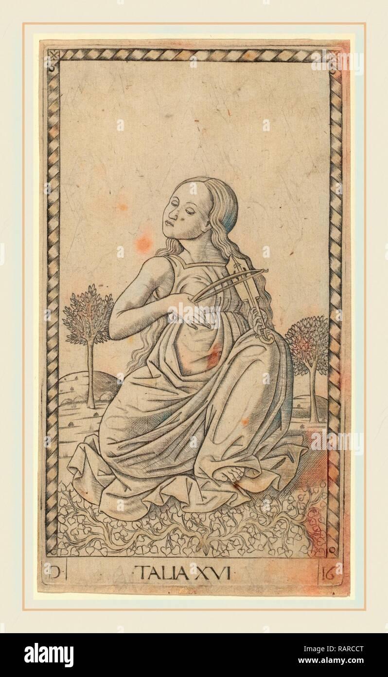 Master of the E-Series Tarocchi (Italian, active c. 1465), Talia (Thalia), c. 1465, engraving. Reimagined - Stock Image