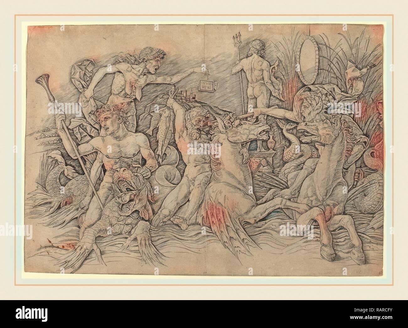 Andrea Mantegna (Italian, c. 1431-1506), Battle of the Sea Gods [left half], c. 1485-1488, engraving. Reimagined - Stock Image