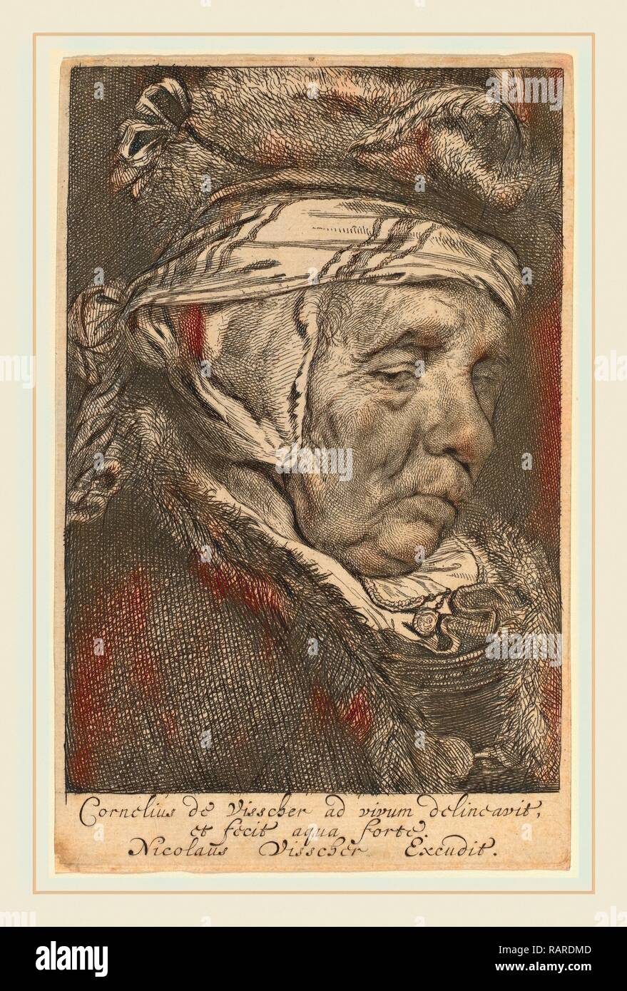 Cornelis Visscher (Dutch, 1629-1662), Head of an Old Woman (Visscher's Mother), etching and engraving. Reimagined - Stock Image
