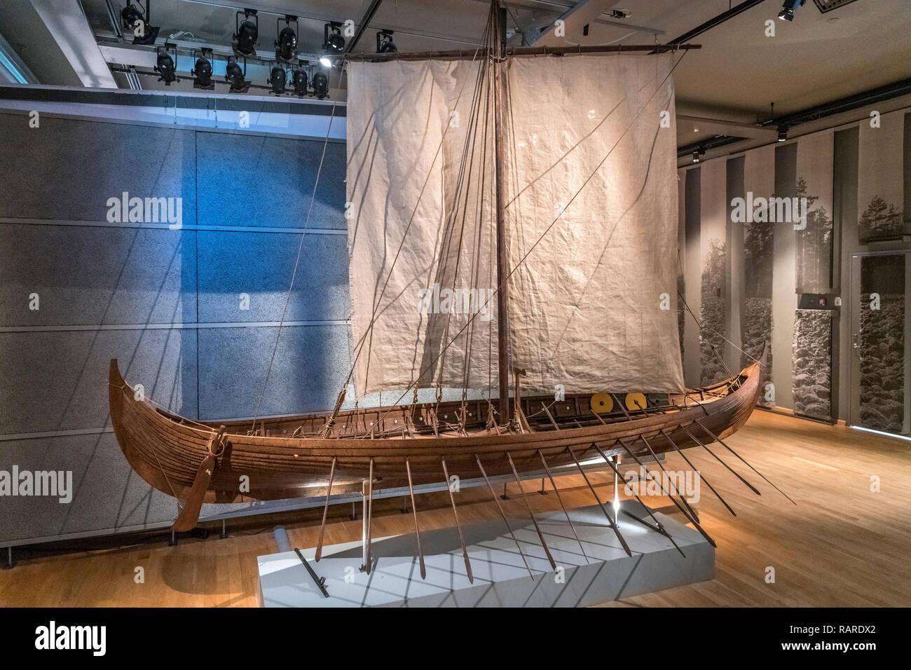 Viking ship. 1:6 scale model of the 9th-Century Gokstad Ship, Swedish History Museum (Historiska museet), Stockholm, Sweden - Stock Image