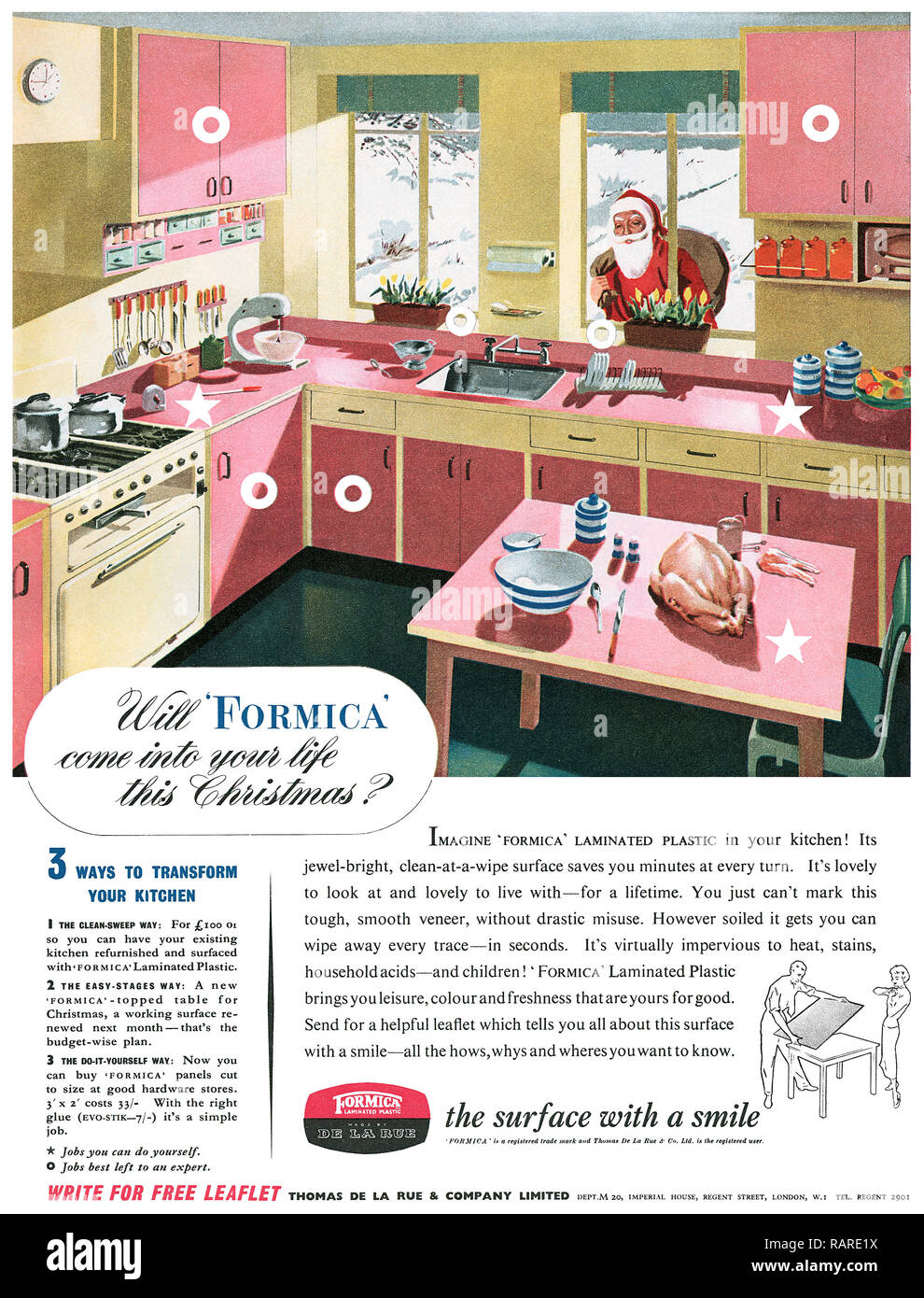 1953 British Christmas advertisement for Formica laminated plastic. - Stock Image