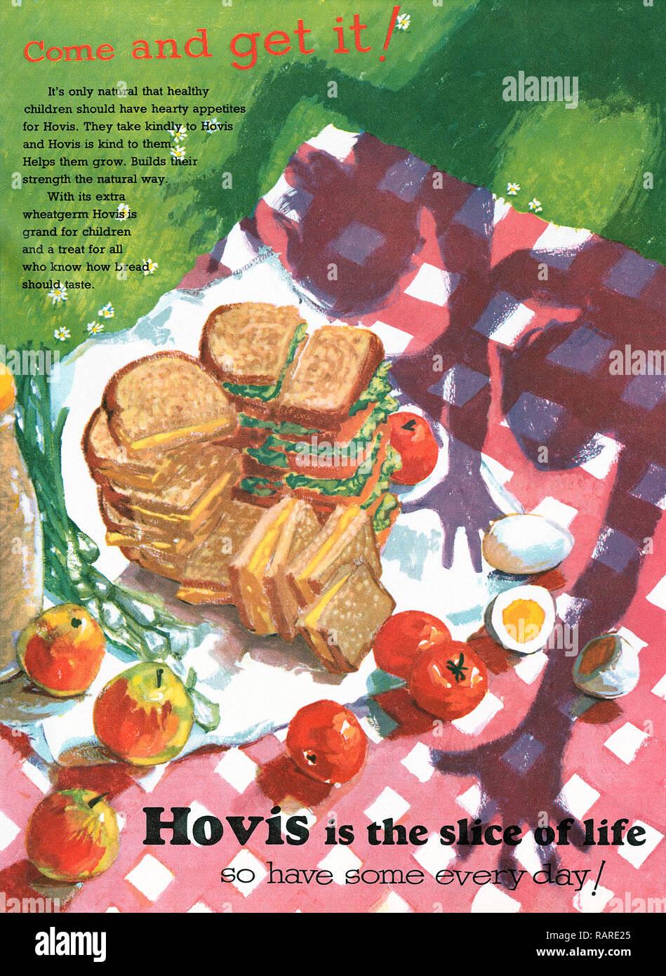 1956 British advertisement for Hovis bread. - Stock Image