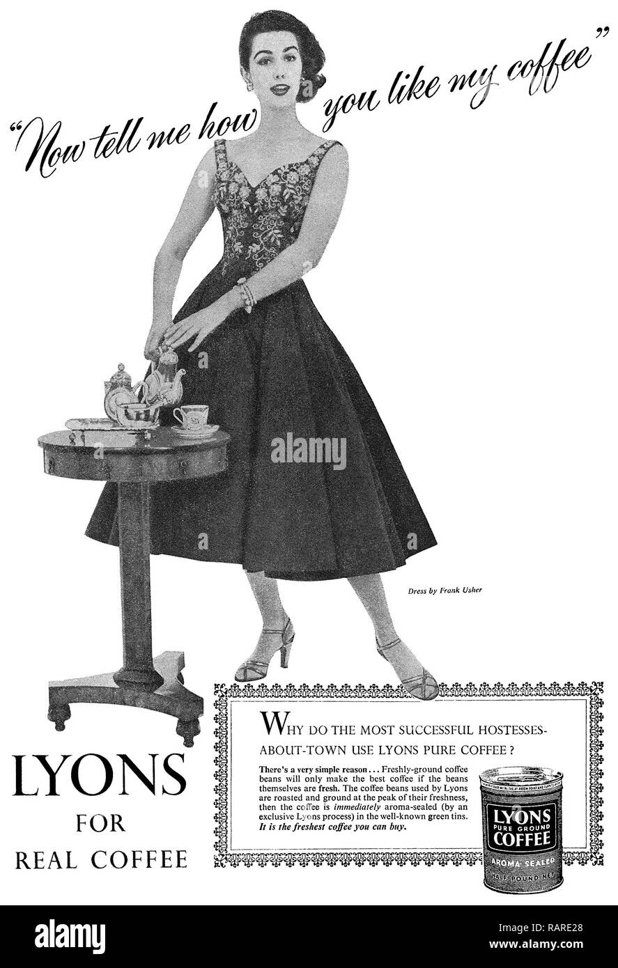 1956 British advertisement for Lyons ground coffee. - Stock Image