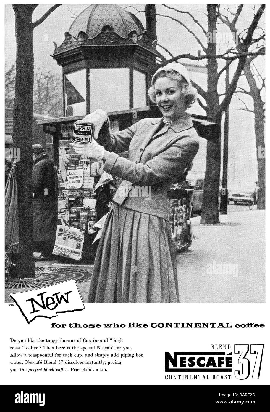 1956 British advertisement for Nescafé Blend 37 continental roast instant coffee. - Stock Image