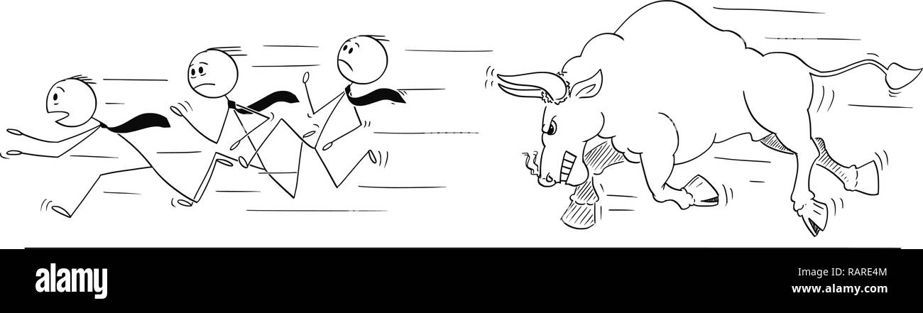 Cartoon of Group of Businessmen Running Away From Angry Bull as Rising Market Prices Symbol Stock Vector