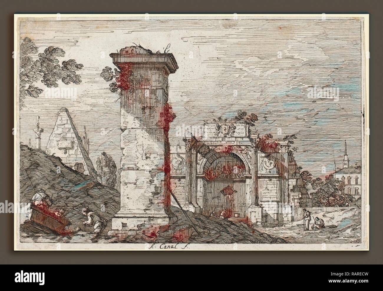 Canaletto (Italian, 1697 - 1768), Landscape with Ruined Monuments, c. 1735-1746, etching. Reimagined - Stock Image