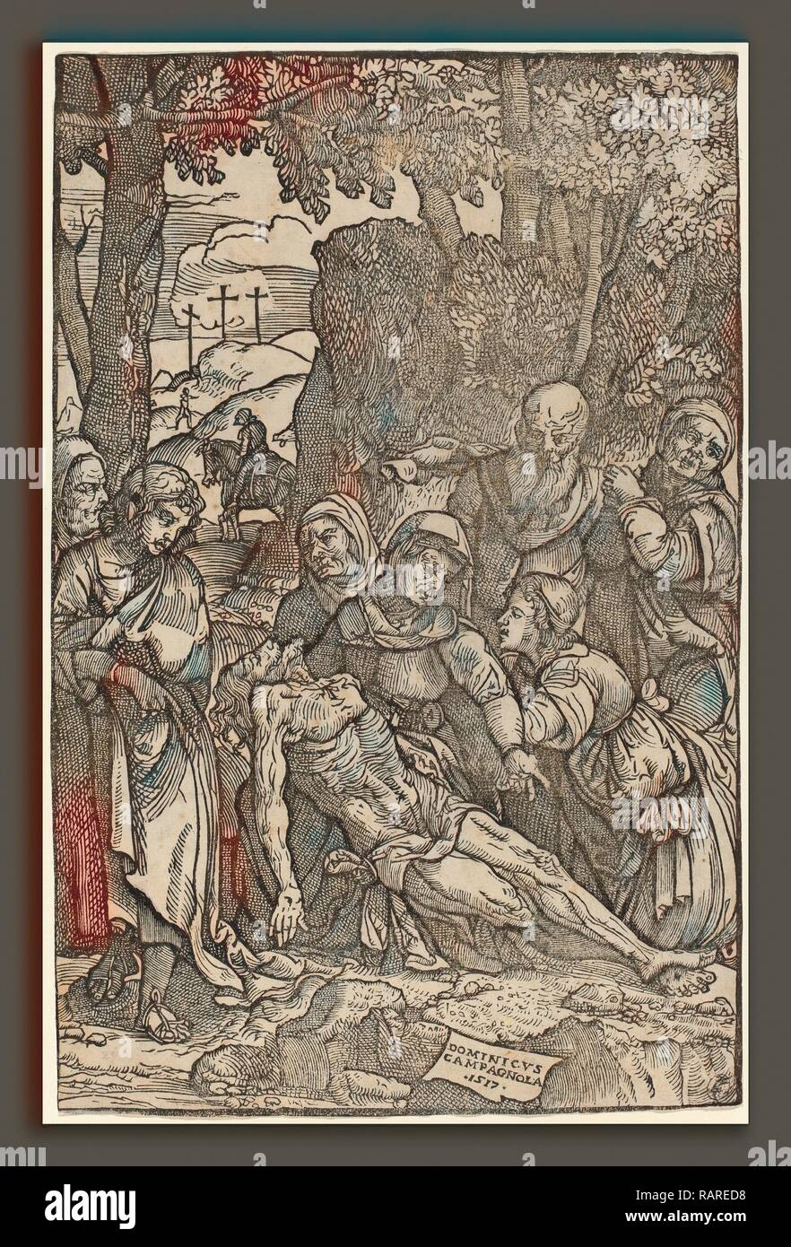 Domenico Campagnola (Italian, before 1500 - 1564), Lamentation of Christ, 1517, woodcut. Reimagined by Gibon. Classic reimagined - Stock Image
