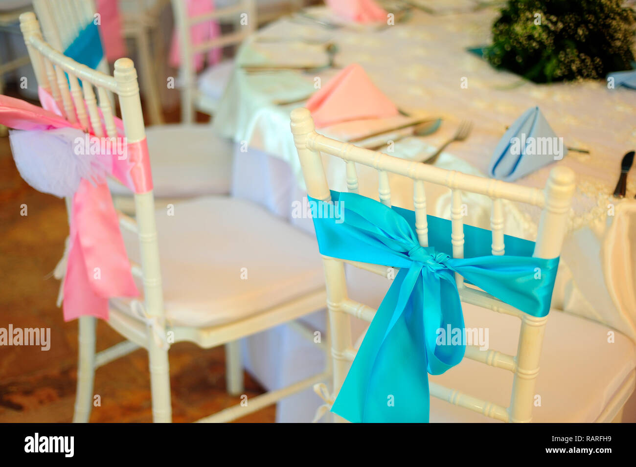 MERIDA, YUC/MEXICO - NOV 18, 2017: Twin babies's baptismal party venue decoration and gifts for guests - Stock Image