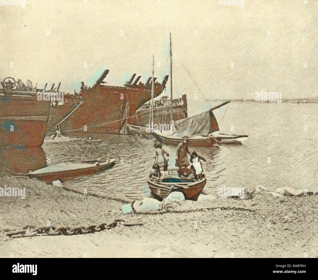 dismantled ships, attributed to Peter Henry Emerson, 1887 - 1890. Reimagined by Gibon. Classic art with a modern reimagined - Stock Image