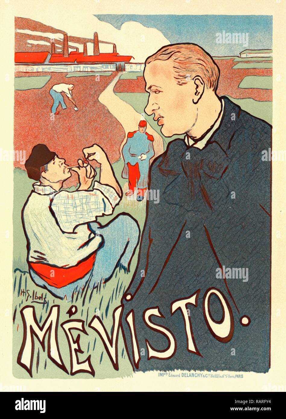 Poster for Mévisto. Ibels, Henry Gabriel (1867-1936), French illustrator, printmaker, painter and author.He studied reimagined - Stock Image