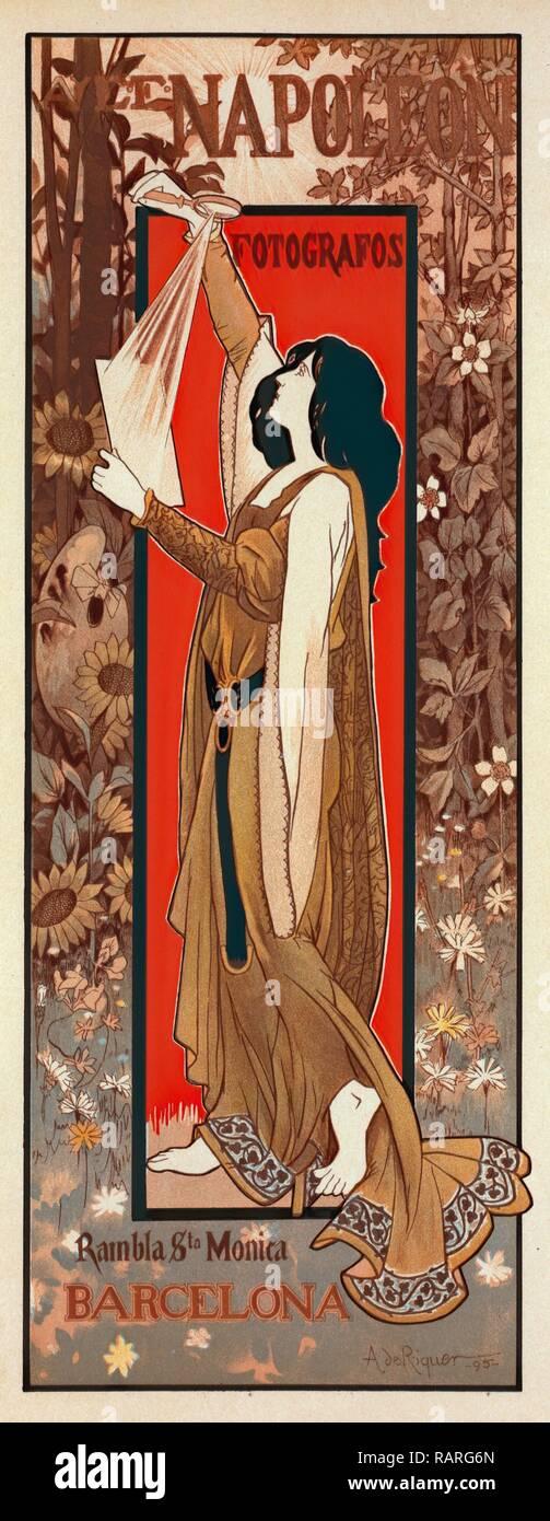 Spanish poster for Maison A. et E. Napoléon, Riquer, Alexandre de, 1856-1920, Artist. Reimagined by Gibon. Classic reimagined - Stock Image