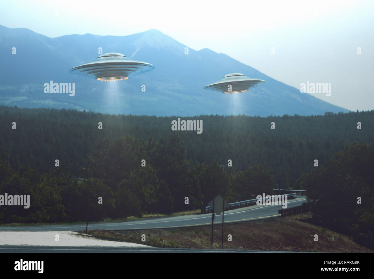 Unidentified flying object. Two UFOs flying over a road among the trees. 3D illustration. - Stock Image