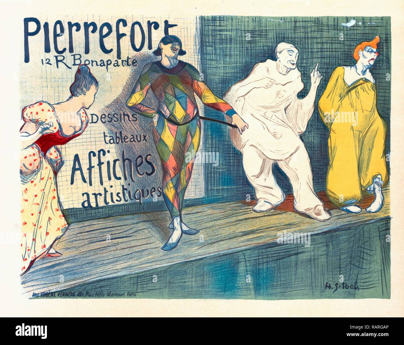 Poster for Posters artistiques Pierrefort. Ibels, Henry Gabriel 1867-1936, French illustrator, printmaker, painter reimagined - Stock Image