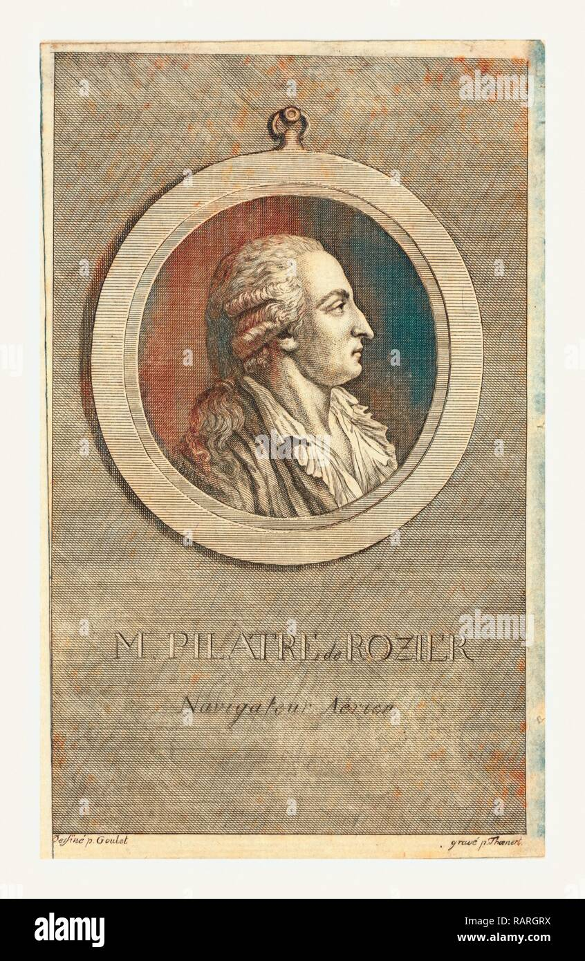 M. Pilatre de Rozier, aeronaut by p. Goulet, engraved by p. Thoenert. Reimagined by Gibon. Classic art with a modern reimagined Stock Photo
