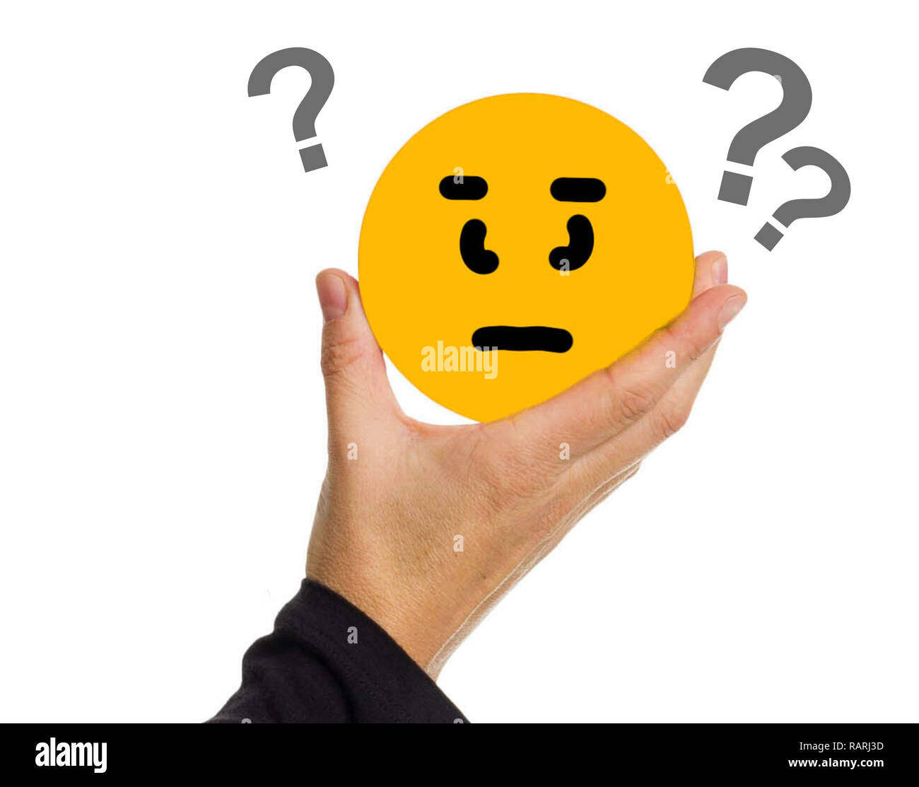 Hand holding a yellow circle with face expression question_illustration. - Stock Image