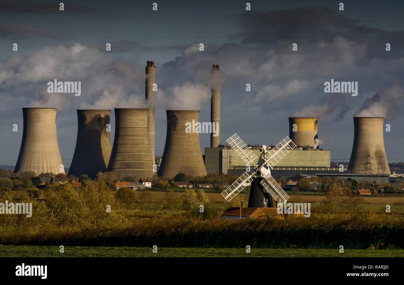 West Burton Power Station and Leverton Windmill, Nottinghamshire, England # 3 - Stock Image