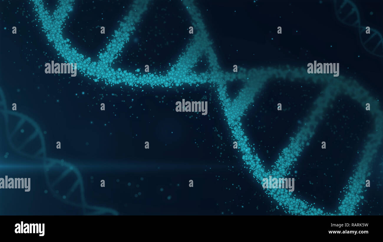 DNA helix molecules abstract 3D illustration. Biotechnology, genetics and science concept. New technology background. - Stock Image