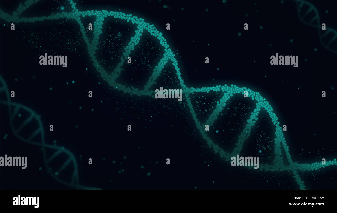 DNA spiral molecules abstract 3D illustration. Biotechnology, genetics and biology concept. New technology background. - Stock Image