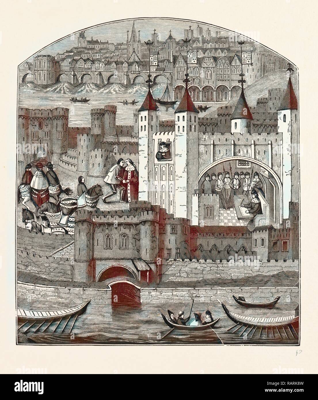 Tower Fifteenth Century, London, England, engraving 19th century, Britain, UK. Reimagined by Gibon. Classic art with reimagined - Stock Image