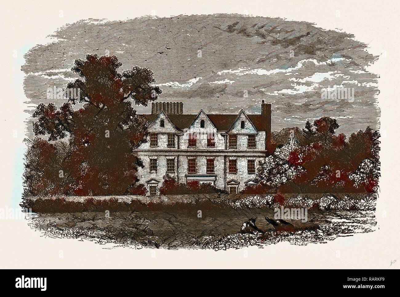 BOSTON HOUSE, from an old Print of 1799. Reimagined by Gibon. Classic art with a modern twist reimagined - Stock Image