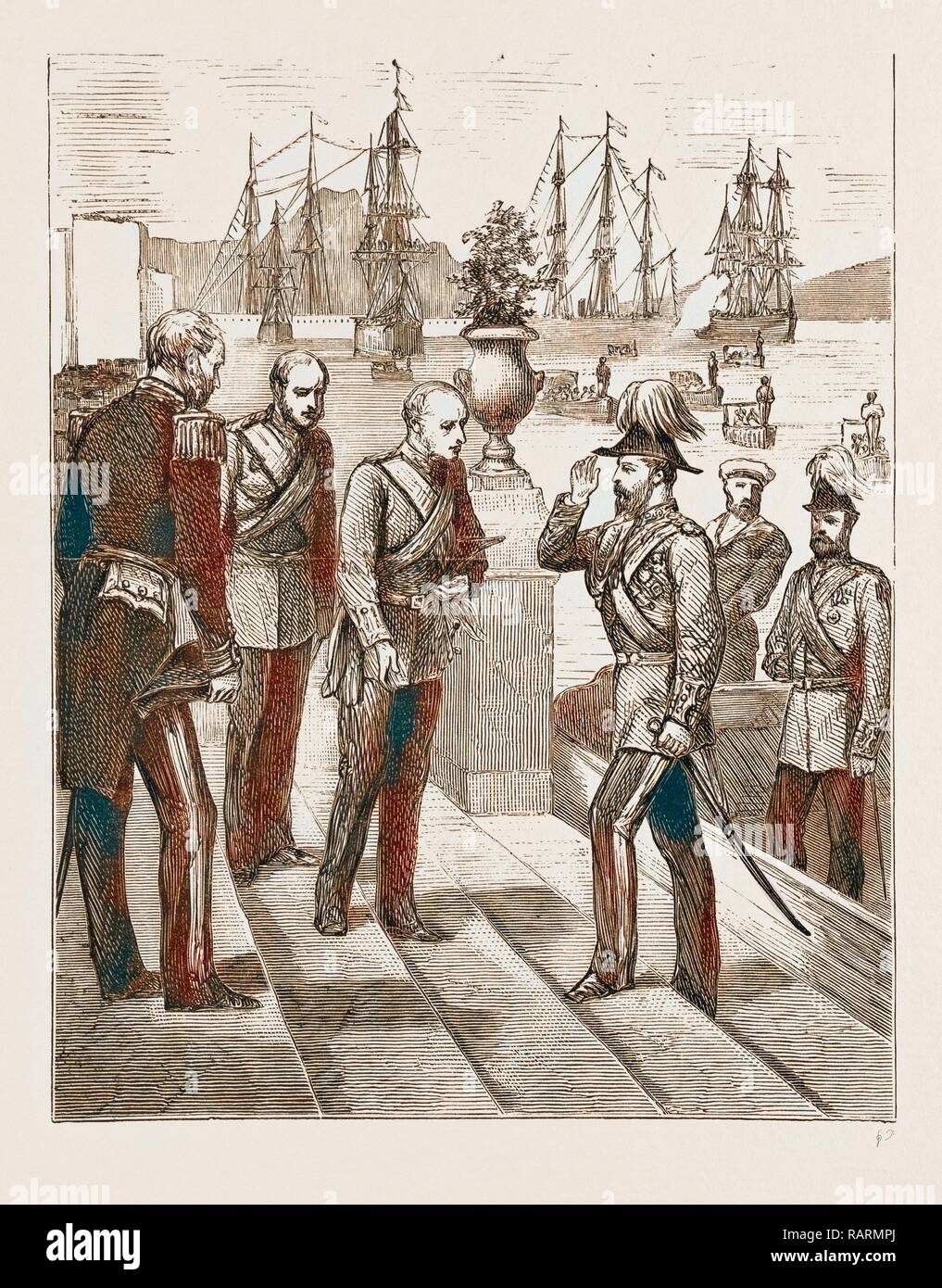 THE PRINCE OF WALES AT MALTA, 1876: RECEPTION OF THE PRINCE BY GENERAL SIR C.T. VAN STRAUBENZEE, GOVERNOR OF THE reimagined - Stock Image