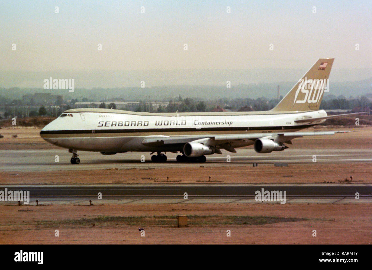 Seaboard World Boeing 747 Heathrow 1979 - Stock Image