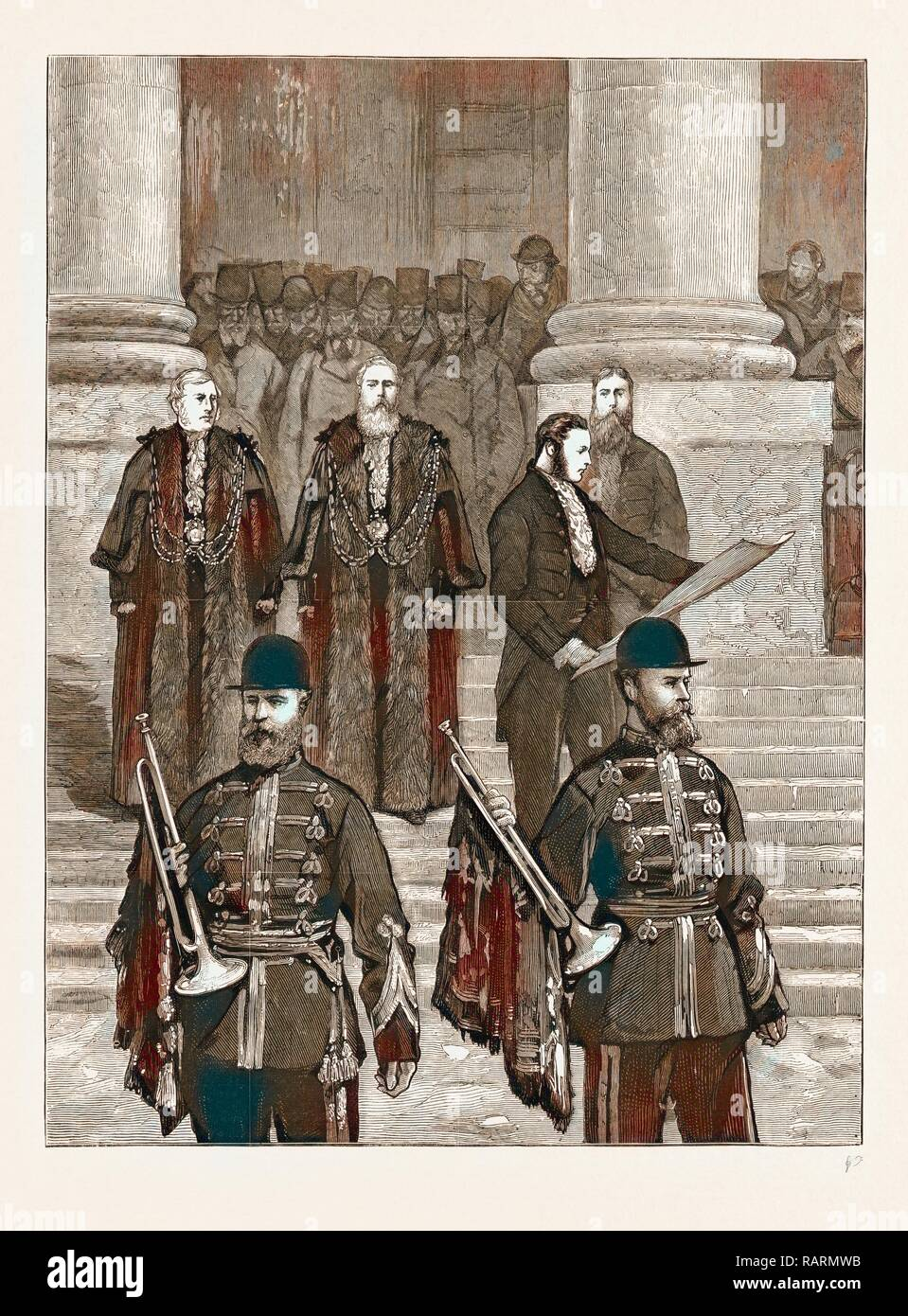 EMPRESS OF INDIA: PROCLAMATION OF THE QUEEN'S NEW TITLE AT THE ROYAL EXCHANGE, 1876. Reimagined by Gibon. Classic art reimagined - Stock Image
