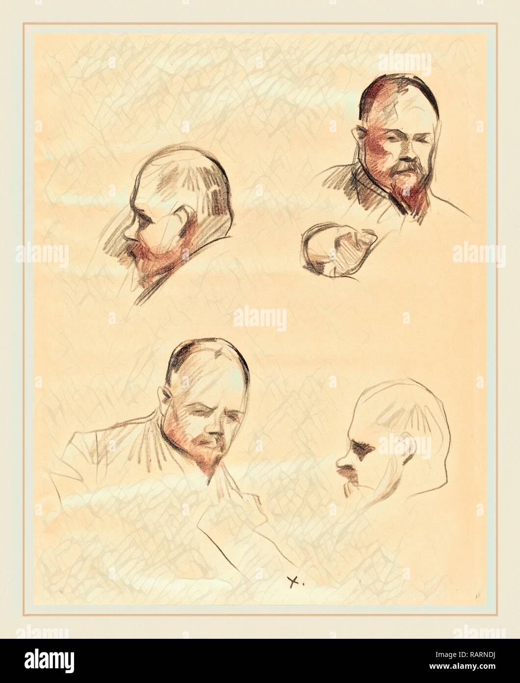 Jean-Louis Forain, Four Sketches of Ambroise Vollard, French, 1852-1931, c. 1910, lithograph. Reimagined - Stock Image