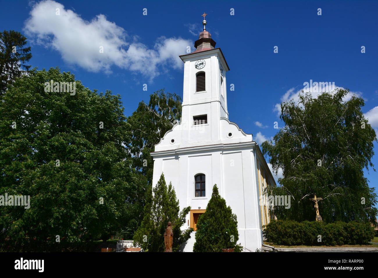 Assumption Roman Catholic Church in Buzsák. Nagyboldogasszony római katolikus templom Buzsákon. - Stock Image