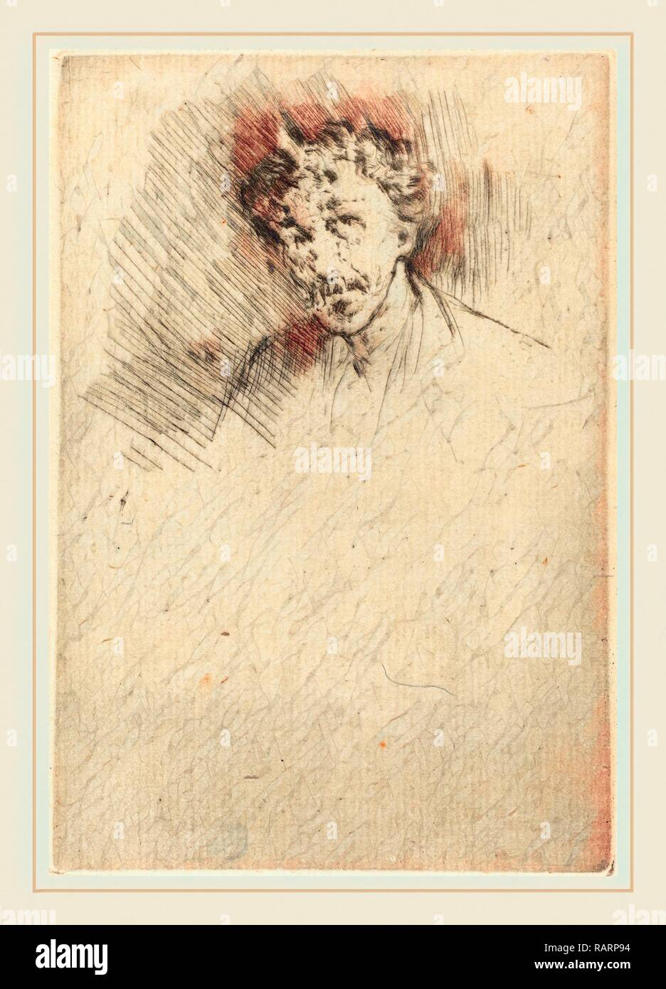 James McNeill Whistler (American, 1834-1903), Whistler with the White Lock, 1879, etching. Reimagined - Stock Image