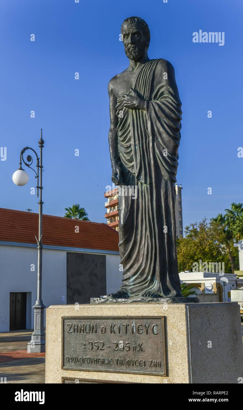 Monument, Zenon of Kition, European place, Finikoudas promenade, Larnaka, republic Cyprus, Denkmal, Zenon von Kition, Europaplatz, Finikoudas Promenad - Stock Image