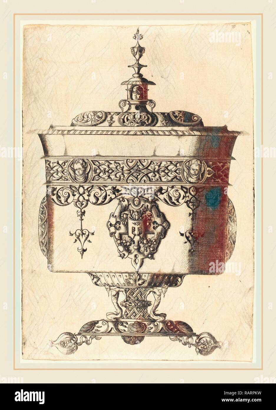 Mathis Zundt (German, probably 1498-1572), Richly Embellished Goblet, etching. Reimagined by Gibon. Classic art with reimagined - Stock Image
