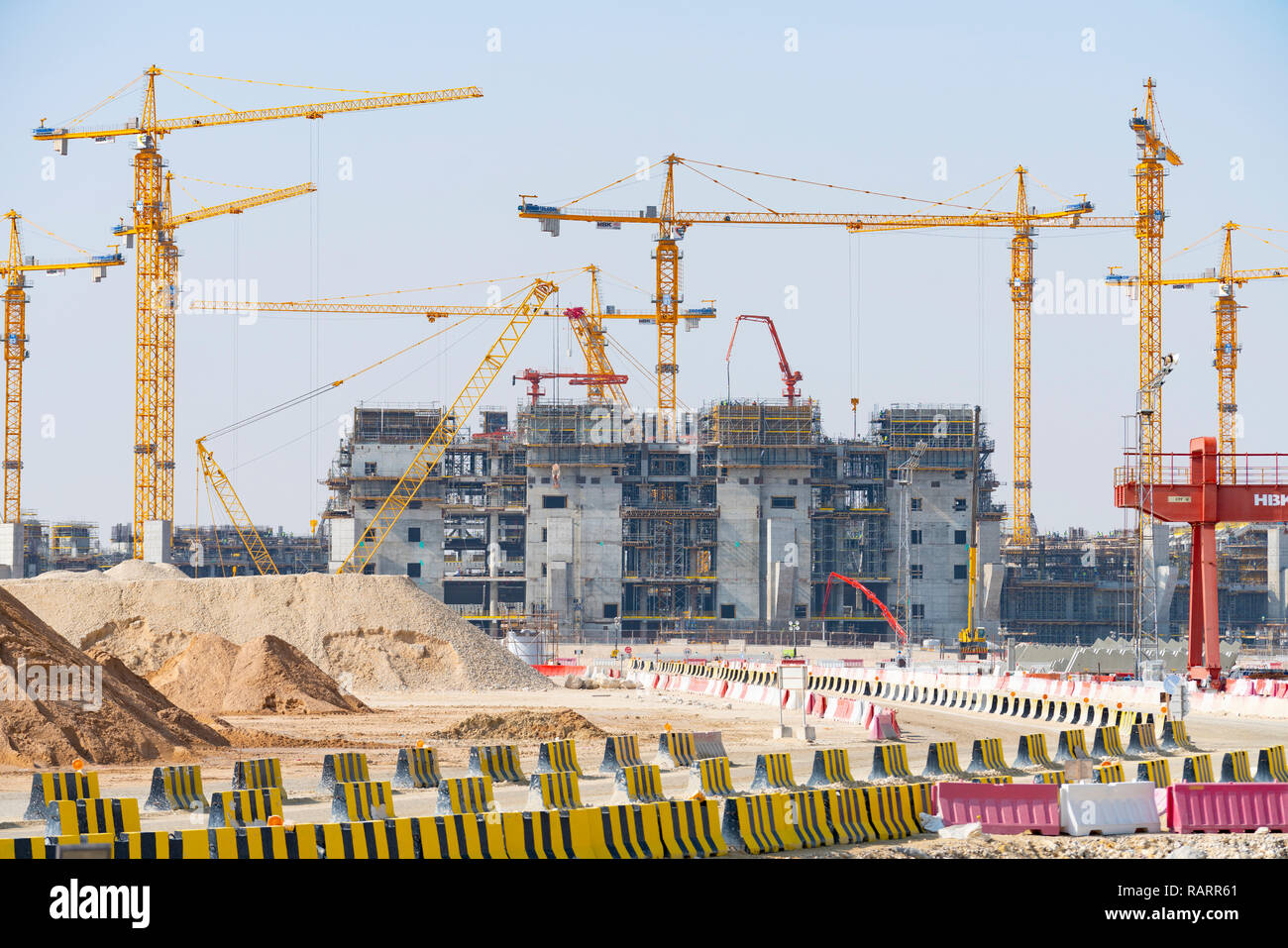 Construction of Lusail Stadium the venue for the FIFA World Cup Final 2022 in Lusail City new town under construction in Qatar, Middle East - Stock Image