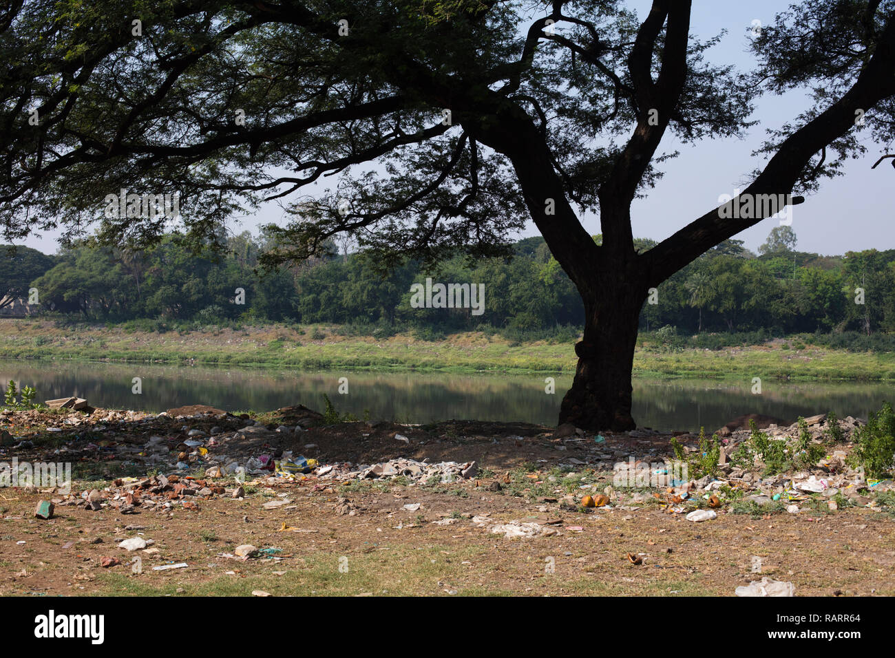 The riverside with trash in India. - Stock Image