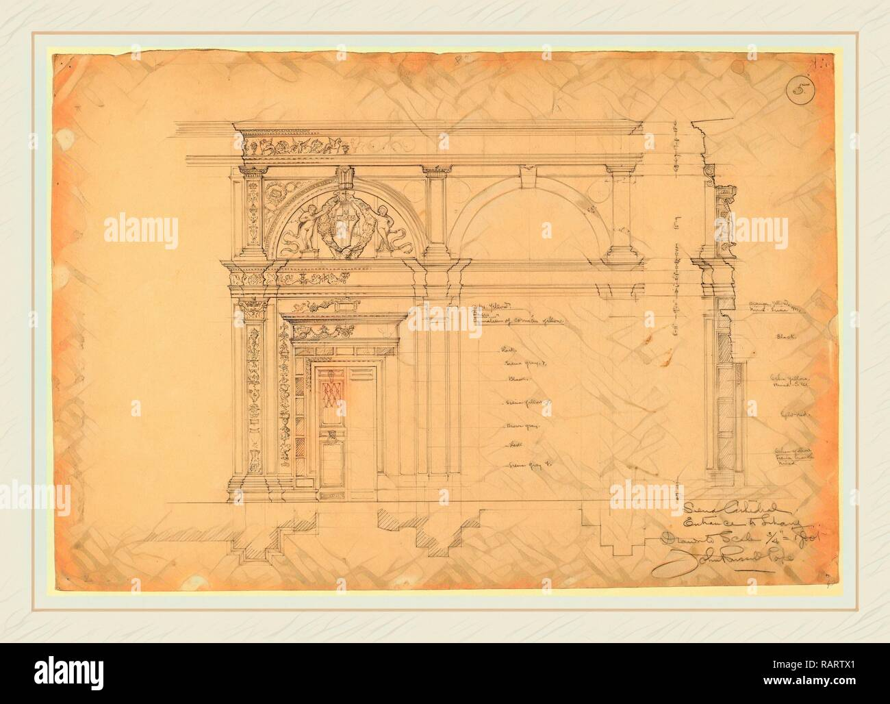 John Russell Pope, Siena Cathedral, Entrance to Library, American, 1874-1937, c. 1896, graphite. Reimagined - Stock Image