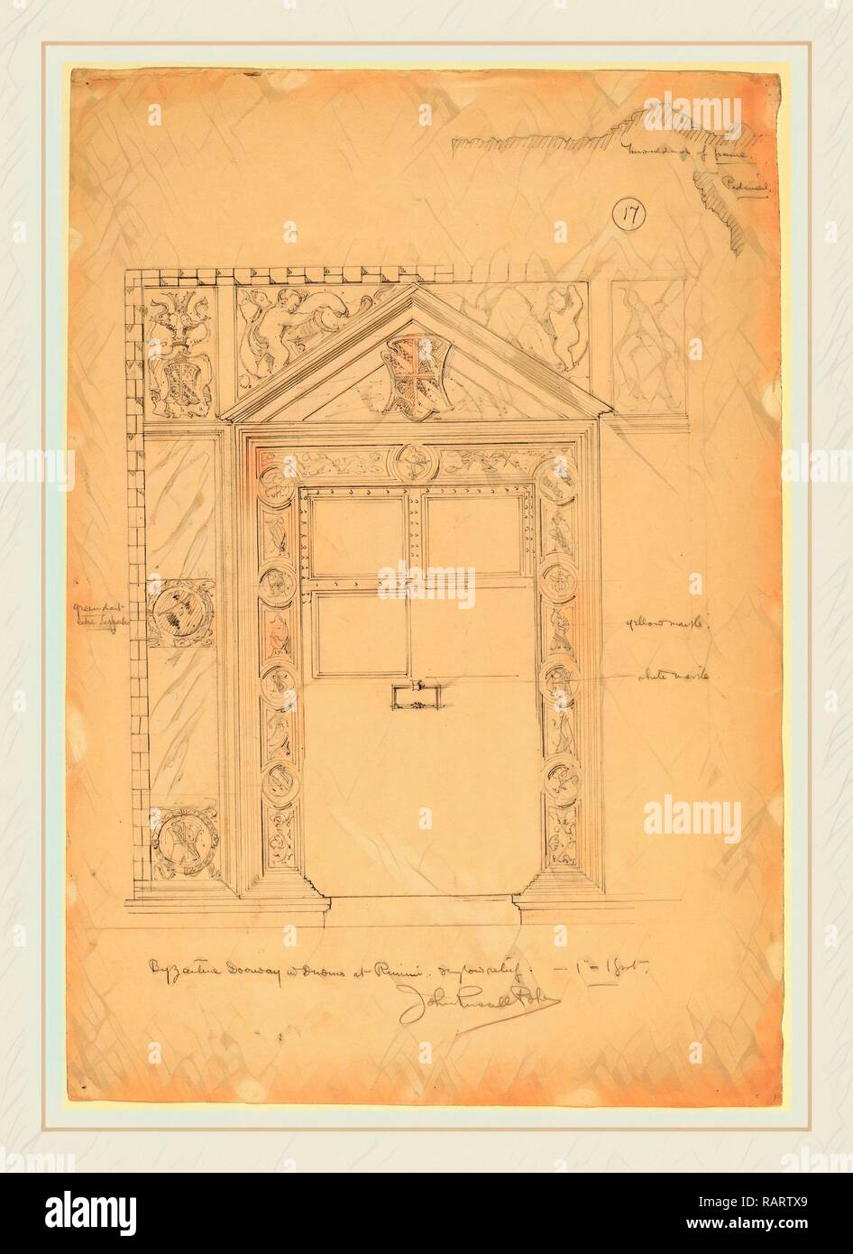John Russell Pope, Byzantine Doorway with Duomo, Rimini, American, 1874-1937, c. 1898, graphite. Reimagined - Stock Image