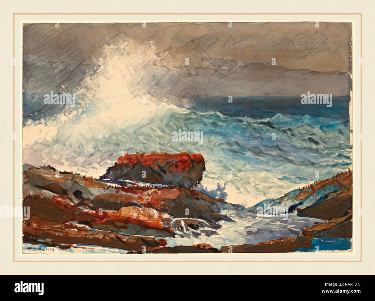 Winslow Homer (American, 1836-1910), Incoming Tide, Scarboro, Maine, 1883, watercolor. Reimagined by Gibon. Classic reimagined - Stock Image