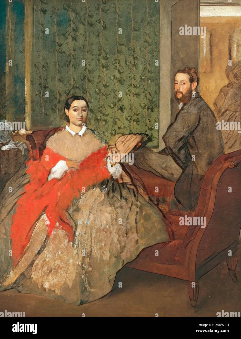 Edgar Degas (French, 1834-1917), Edmondo and Thérèse Morbilli, c. 1865, oil on canvas. Reimagined by Gibon. Classic reimagined Stock Photo