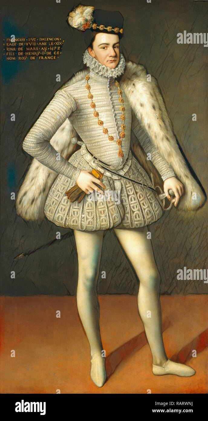 French 16th Century, Prince Hercule-François, Duc d'Alençon, 1572, oil on canvas. Reimagined by Gibon. Classic art reimagined - Stock Image