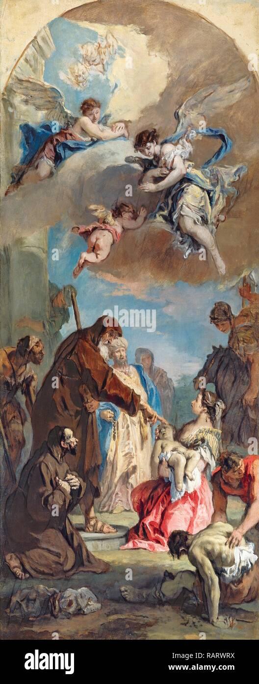 Sebastiano Ricci, A Miracle of Saint Francis of Paola, Italian, 1659-1734, 1733, oil on canvas. Reimagined Stock Photo