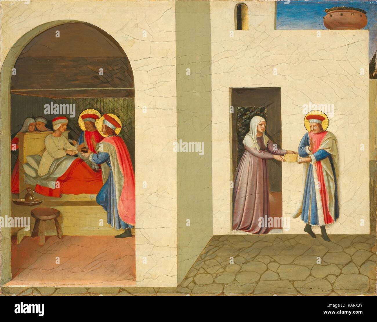 Fra Angelico, The Healing of Palladia by Saint Cosmas and Saint Damian, Italian, c. 1395-1455, c. 1438-1440, tempera reimagined - Stock Image