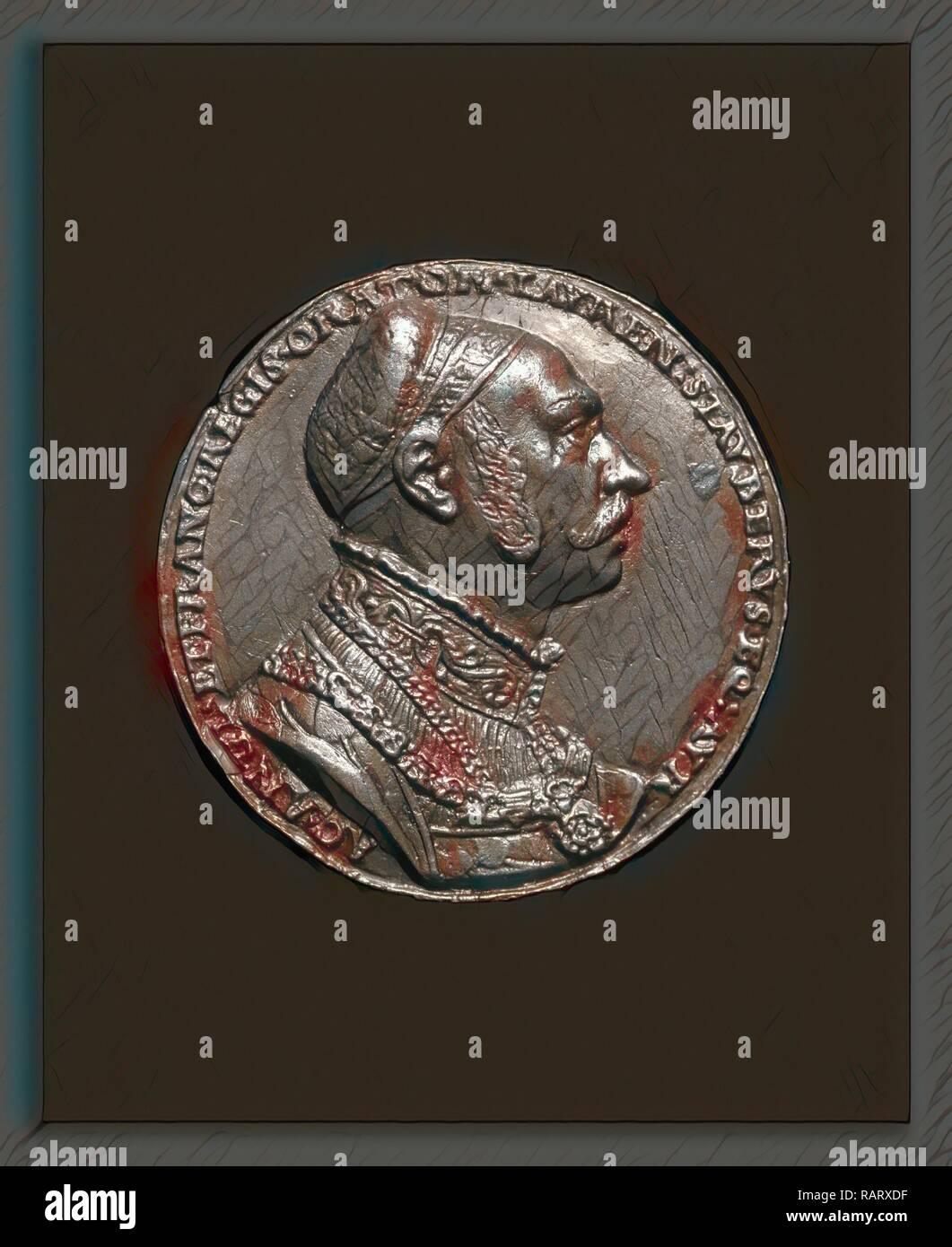 Matthes Gebel, Lorenz Staiber, 1485-1486-1539, German Writer and Orator [obverse], German, c. 1500 - 1574, 1535, lead reimagined - Stock Image