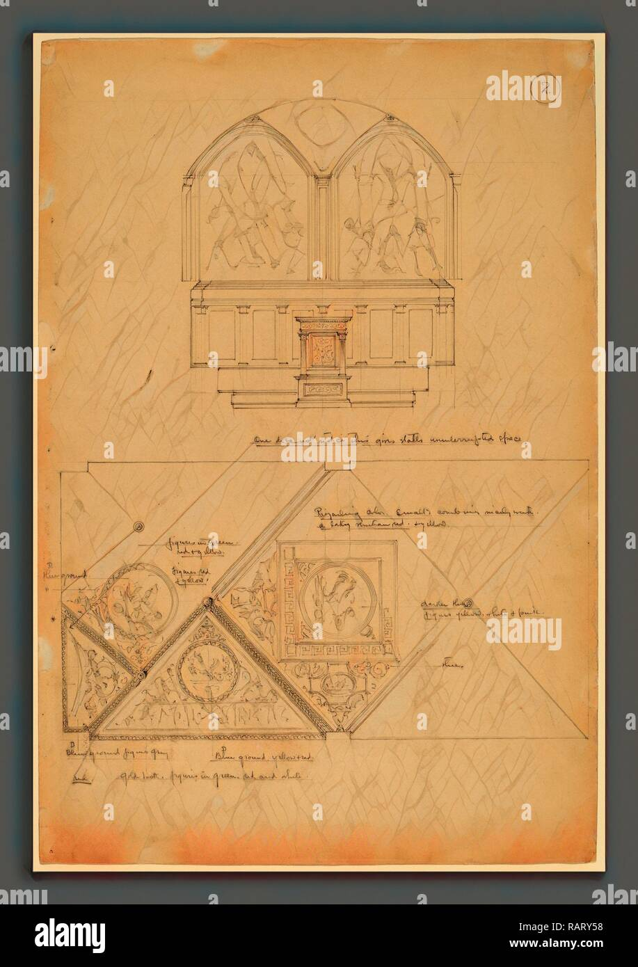 John Russell Pope, Study of an Altarpiece and Ceiling Panels, American, 1874 - 1937, d. 1896, graphite. Reimagined - Stock Image